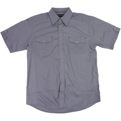 [並行輸入品] KNOCK OUT ノックアウト プレーンタイプ 半袖 ボタン シャツ (グレー)