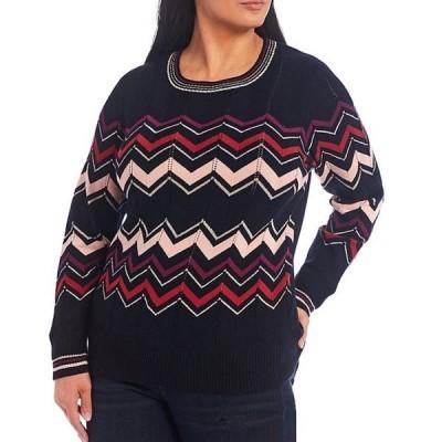 ジェシカシンプソン レディース パーカー・スウェット アウター Plus Size Marcelina Chevron Print Lurex Detail Crew Neck Sweater