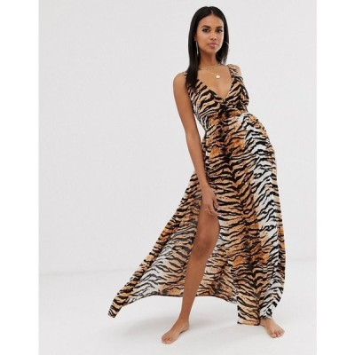 エイソス ASOS DESIGN レディース ビーチウェア 水着・ビーチウェア tie back cross front split maxi beach dress in Natural tiger Natural tiger