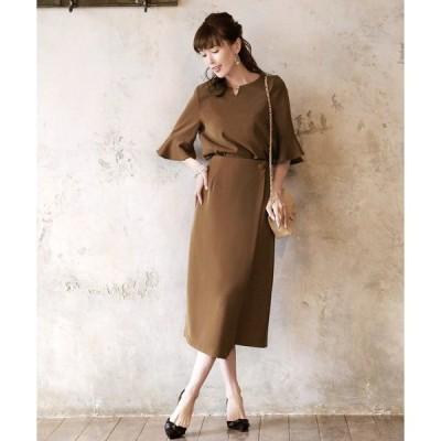 ドレス フレアスリーブラップスカートセットアップ/結婚式・お呼ばれ・二次会・同窓会・成人式対応フォーマルパーティードレス