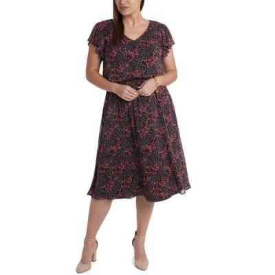 ミスク レディース ワンピース トップス Plus Size Chiffon Smocked-Waist Midi Dress