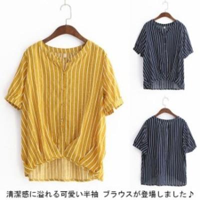 ブラウス 半袖 ブラウス レディース 縦縞 スキッパーシャツ 半袖 とろみシャツ トップス シャツ ブラウス プルオーバー 新作