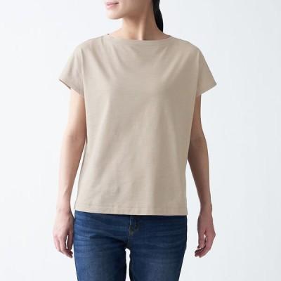 無印良品 ムラ糸天竺編みフレンチスリーブTシャツ 婦人 M ペールブラウン 良品計画