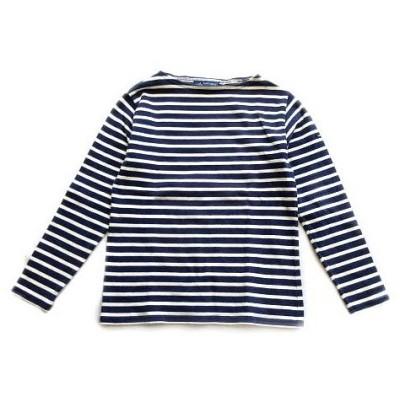 【中古】セントジェームス SAINT JAMES バスクシャツ Tシャツ カットソー ロング 長袖 ボーダー ボートネック XXS ネイビー 白 レディース  【ベクトル 古着】