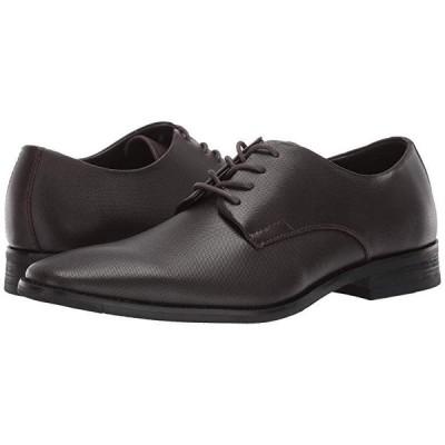 カルバン・クライン Ramses メンズ オックスフォード Dark Brown Small Grid Emboss Leather