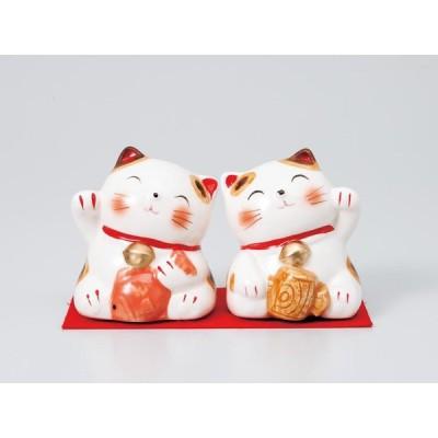 / 【陶器人形 猫 バンク】ほほえみネコちゃん恵比寿大黒白ペアー /和食器