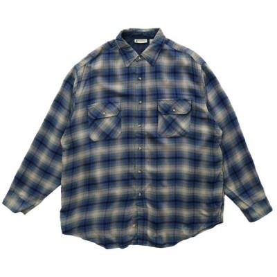 NORTHWEST TERITORY オンブレ チェックシャツ 長袖 ブルー サイズ表記:XL