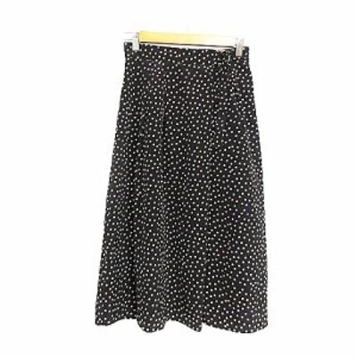 【中古】リミットレスラグジュアリー LIMITLESS LUXURY スカート フレア ミモレ ロング ドット リボン F 黒 ブラック