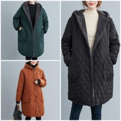 アウター レディース コート ジャケット キルティング フード ボタン 長袖 ポケット ミドル丈 ひざ上 ボア 裏起毛 上着 羽織り 無地 冬
