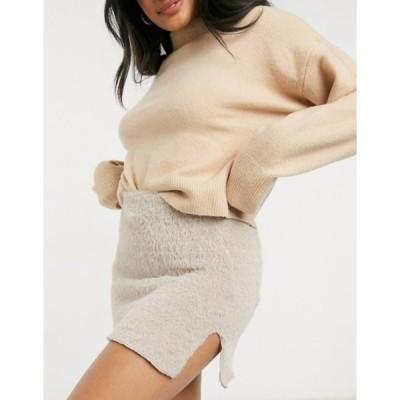 エイソス レディース スカート ボトムス ASOS DESIGN soft touch mini skirt with slit detail in stone