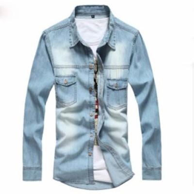 2色 長袖 メンズ カジュアルシャツ ワイシャツ 長袖 無地  デニムシャツ 大きいサイズ コート