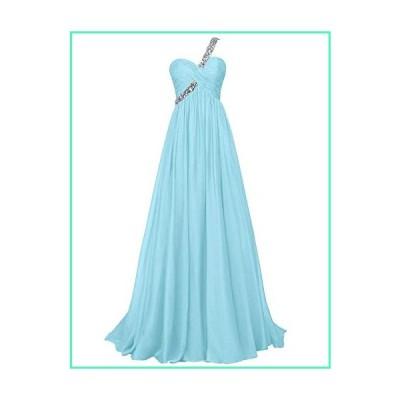 ASBridal Chiffon Evening Dresses One Shoulder Long Pleated Prom Formal Gowns Beading Bridesmaid Dress Blue並行輸入品