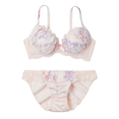 ロマンティックフラワープリント ブラジャー・ショーツセット(D70/M) (ブラジャー&ショーツセット)Bras & Panties