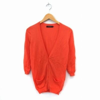 【中古】ユナイテッドアローズ UNITED ARROWS カーディガン ニット 長袖 シンプル ポケット オレンジ /ST45