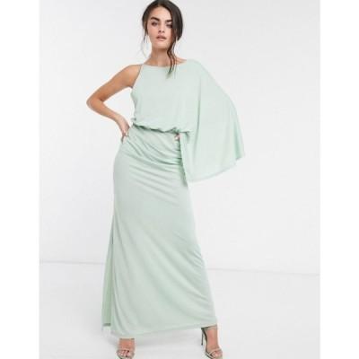 エイソス ASOS DESIGN レディース ワンピース ワンピース・ドレス one shoulder grecian maxi dress in sage green セージグリーン