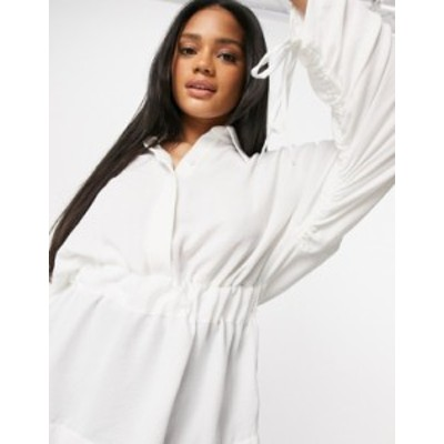 トップショップ レディース シャツ トップス Topshop tie sleeve shirt in ivory White 1