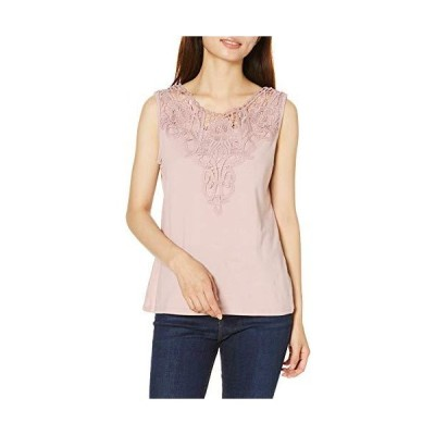 セシール Tシャツ タンクトップ 胸元レース 綿100% レディース スモークピンク 3L