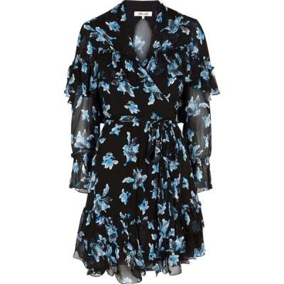 ダイアン フォン ファステンバーグ Diane von Furstenberg レディース パーティードレス ラップドレス martina floral-print chiffon wrap dress Black