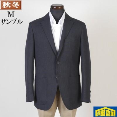 ジャケット ビジネス テーラード メンズ M ウォッシャブル 灰紺 千鳥格子柄 4000 SJ8029