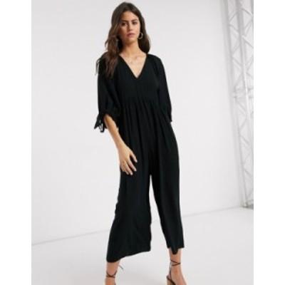 エイソス レディース ワンピース トップス ASOS DESIGN smock jumpsuit with tie sleeve detail in black Black