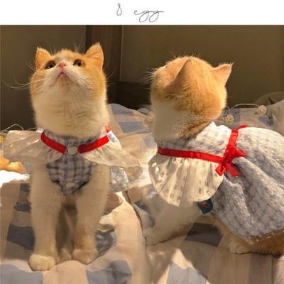 猫服 可愛い ニャンコ 縞柄 ペット服 春物 春 夏 ペット用品 猫用品 レース 着物 猫の服