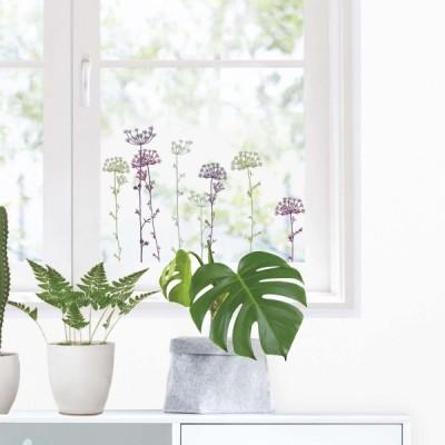 ウィンドウステッカーM(ステッカータイプ) 「アナベル」 窓ガラス 透明シート 花 植物 おしゃれ インテリア  フランス