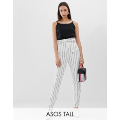 エイソス レディース カジュアルパンツ ボトムス ASOS DESIGN Tall linen tie waist tapered peg pants Stripe