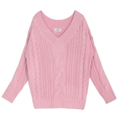【ジュリアブティック】 ケーブル編みVネックローゲージニットトップス・セーター/17521 レディース ピンク ONE Julia Boutique