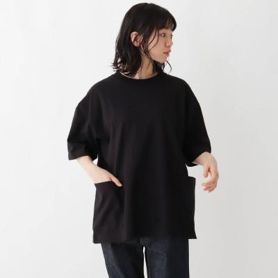 ベース コントロール BASE CONTROL 抗菌防臭 ビッグシルエット カーゴポケット ロゴワンポイント刺繍Tシャツ (ブラック)