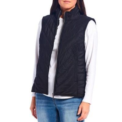 ウェストボンド レディース ジャケット&ブルゾン アウター Petite Size Quilted Stand Collar Faux Fur Lined Zip Front Vest Black
