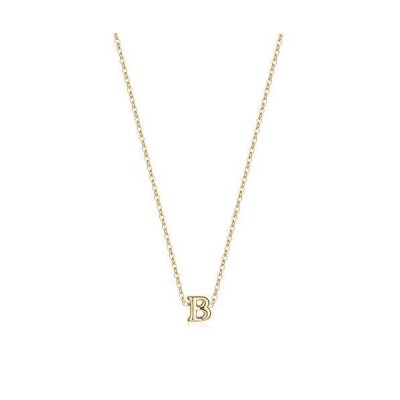 Befettly Gold Initial Necklace,14K Gold Plated Cute Tiny Hollow Out Letters