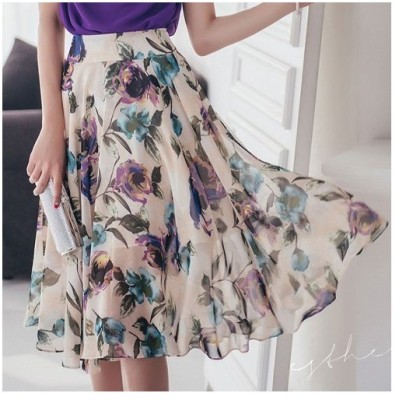 スカート レディース ハイウエスト 膝丈 花柄 フラワー 40代 50代 ファッション 2018 春夏 新作