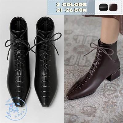 ショートブーツ ローヒールブーツ ブーティー ブーツレディース 編み上げ ポインテッドトゥ 30代40代通勤 痛くない 美脚 旅行ブーツ 靴 シューズ 歩きやすい