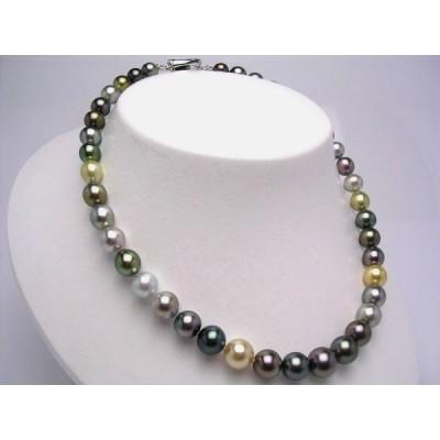 真珠 ネックレス パール 厚巻良質・ナチュラルカラー 黒蝶真珠 真珠ネックレス パールネックレス 8.8-11.2mm 33302