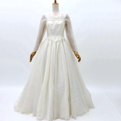 ウェディングドレス3456 長袖Aライン 9号 レンタル処分品 貸衣装 中古 リサイクル 結婚式 フォトウェディング 記念撮影