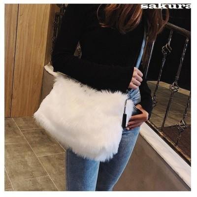 ファーバッグハンドバッグレディース鞄かわいい無地シンプルおしゃれお出かけ黒色白色