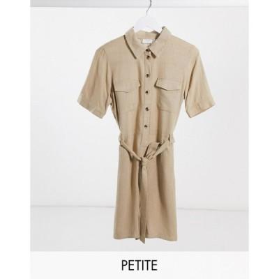 ヴィラ ロンパース ジャンプスーツ プレイスーツ レディース Vila Petite utility playsuit with belted waist in beige エイソス ASOS ベージュ