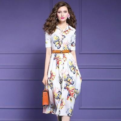 パーティドレス ♪セレブファッション Aラインワンピース 夏新作 シフォン ベルト付き 鮮やかカラーで明るく魅せる 他と被らない 【送料無料】