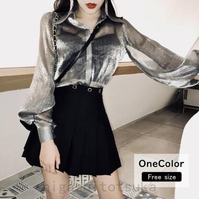 シャツブラウスシースルー長袖薄手透け感紫外線対策UVカットゆったり体型カバー春夏