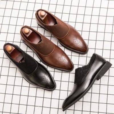 革靴 メンズ メダリオン 紐なし 紳士靴 メンズシューズ 紳士 ローファー スリッポン カジュアルビジネス フォーマル アウトドア 上品