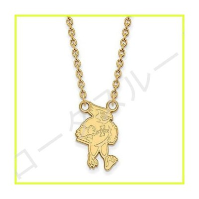 """Solid 14k Yellow Gold Official Iowa State University Large Pendant Necklace Charm Chain - with Secure Lobster Lock Clasp 18"""" (Width = 12mm)"""