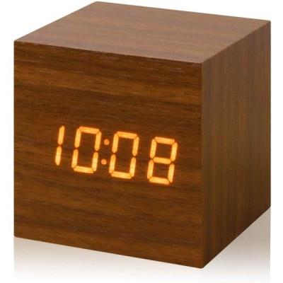 ottostyle.jp ウッド調 LEDデジタル置き時計 [Piccolo] 【ブラウン】 木目調 目覚まし時計 キューブ型 3モード切替表示 アラ