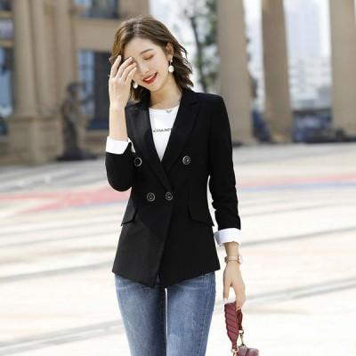 春 秋 テーラードジャケット レディース ブラック グレー 通勤 OL オフィス スーツジャケット フォーマル 長袖 ジャケット 大きいサイズ