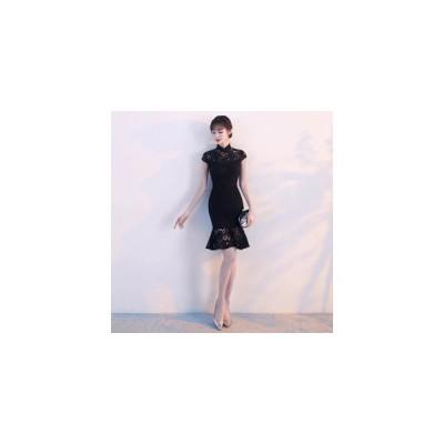 パーティードレス  チャイナドレス ブラック 黒 レース【S-XXLサイズ】
