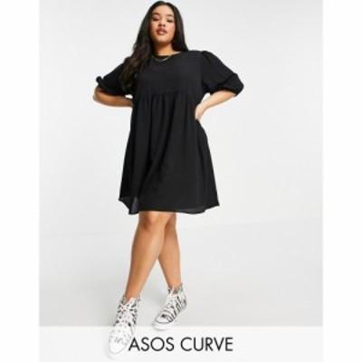 エイソス ASOS Curve レディース ワンピース ワンピース・ドレス ASOS DESIGN Curve short sleeve smock mini dress in black ブラック