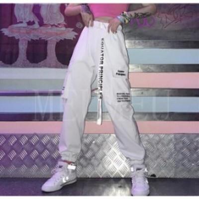 ボトムス カーゴパンツ ロゴ スポーティ ユニセックス ダンス 衣装 韓国 ファッション 大きいサイズ 個性的 服 原宿系ヒップホップダンス