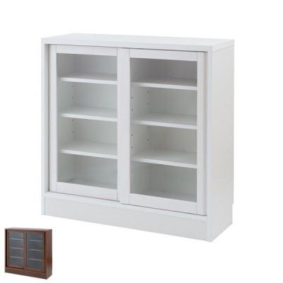カウンター下収納 ガラス引き戸 シンプルデザイン 約幅91cm ( カウンター 食器棚 カップボード 収納 )
