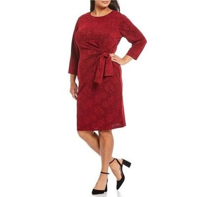 ロンドンタイムス レディース ワンピース トップス Plus Size Tonal Floral Side Tie 3/4 Sleeve Sheath Dress