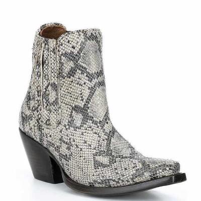 アリアト レディース ブーツ&レインブーツ シューズ Eclipse Snake Print Leather Block Heel Chelsea Western Booties Black White Snake