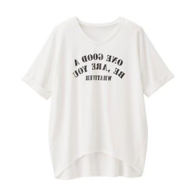 tシャツ Tシャツ ロゴプリントVネックゆるTシャツ